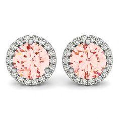 2 Carat Morganite and Diamond Halo Stud Earrings 14k White Gold - Earrings for Women 14k, 18k, or Platinum - 6.5mm - Christmas Gifts For Her