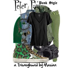 """Disneybounding Peter Pan: Punk Style"" by callmemasian on Polyvore! follow her fashion blog at http://styledbymasian.tumblr.com!"