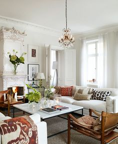 love this room - marble coffee table, textures, white
