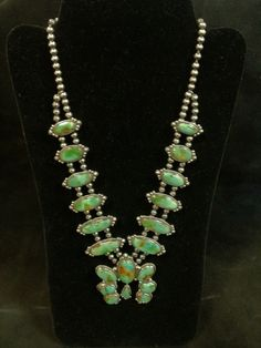 """Sterling Silver 22"""" Squash Blossom Green Turquoise Necklace"""