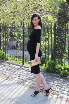 ASOS Off The Shoulder Black Maternity Cocktail Dress    Black Mule Heels: Marion Parke