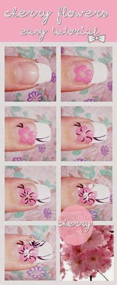 I put together best nail art tutorials of for beginners & learners. These tutorials will help you applying amazing and beautiful nail art designs. Cute Nail Art, Nail Art Diy, Diy Nails, How To Nail Art, Nail Nail, Nail Polishes, Cherry Blossom Nails, Cherry Blossoms, Pink Blossom