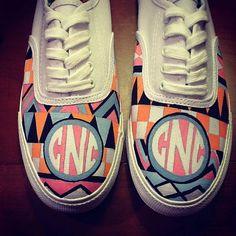 Monogrammed Painted Vans Sneakers- Custom Design, Custom Lettering on Etsy, $90.00