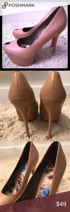 Sam Edelman Niland high heels platform pumps Nude leather platform high heel pumps. 5 inch heel; 1.5 inch platform. Peep toe. Worn once. Soles show signs of wear. Few small scratches. Very comfortable for the height. Size is 7.5. Sam Edelman Shoes Heels