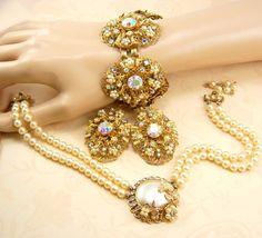 BIG Haskell style  Seed PEarl CLuster Parure by vintagesparkles, $550.00