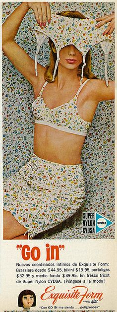 """""""Actually, hon, that's not the matching sleeping mask."""" (Funny bad retro lingerie ads)"""