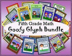 Math Goofy Glyph Bundle - (5th Grade Common Core)