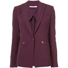 Veronica Beard zip pocket blazer ($600) ❤ liked on Polyvore featuring outerwear, jackets, blazers, blazer, coats, suit, zip pocket jacket, purple jacket, purple blazer jacket and veronica beard jacket