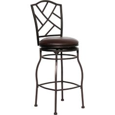 "Flash BS-6320-29-BN-GG - 29"" Brown Metal Barstool with Brown Leather Swivel Seat 