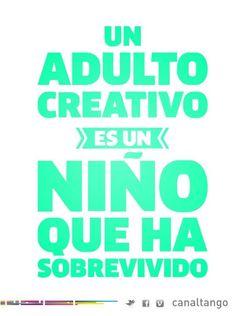 """Spanish realia poster """"un adulto creativo es un niño que ha sobrevivido"""" for class discussion and present perfect"""