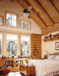 Log home bedroom, log cabin living, master bedroom, cozy bedroom, log home Log Cabin Living, Log Cabin Homes, Home And Living, Log Cabins, Living Room, Log Home Bedroom, Master Bedroom, Cozy Bedroom, Bedroom Curtains