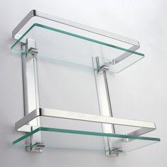KES Bathroom Shelves 2 Tier Glass Shelf With Rail Aluminum Tempered Glass  Shower