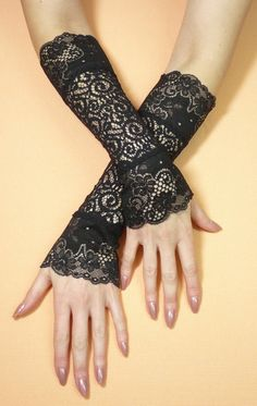 Elegant Black Gothic Gloves with Lace Fusion Dance by estylissimo, $22.00