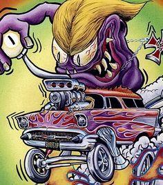 "RATFINK - Ed ""Big Daddy"" Roth art work I have an original art work of this one By Seeds Weird Cars, Cool Cars, Ed Roth Art, Long Beach California, Rat Fink, Garage Art, Ad Art, Car Drawings, Big Daddy"