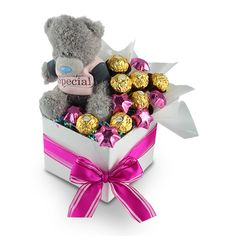 """Someone Special Ferrero    Someone Special Ferrero is an assortment of 6 delicious chocolate stars and 7 Ferrero Rocher Chocolates along with a very cute """"Me To You"""" range teddy bear."""