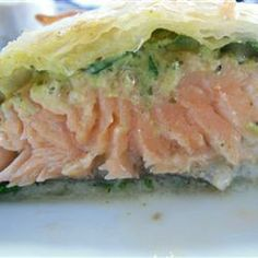 Salmon in Puff Pastry- My kids love this! I use phyllo dough because it is cheaper and lighter, but puff pastry would be great too.