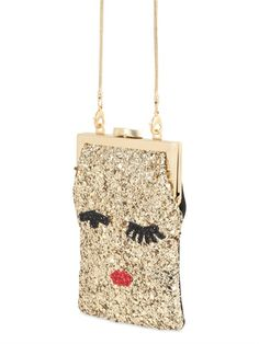 ec3f7aeeece LULU GUINNESS ELLIE FACE GLITTERED SHOULDER BAG Lulu Guinness