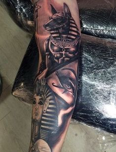 Egyptian Tattoos For Men - Ancient Egypt Design Ideas Creative Men's Egyptian Tattoo Half SleevesCreative Men's Egyptian Tattoo Half Sleeves Dope Tattoos, Trendy Tattoos, Leg Tattoos, Body Art Tattoos, Tattoos Pics, Tattoos Gallery, Mens Leg Tattoo, Henna Tattoos, Tattoo Art