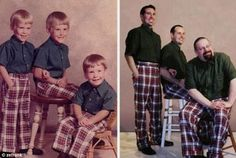 What if you redid the photos from your childhood with your grow up self? That's what happened in these hilariously recreated childhood photos. Check them out! Childhood Photos Recreated, Funny Family Photos, Family Pictures, Photo Recreation, Then And Now Photos, Family Humor, Holiday Pictures, Poses, Siblings
