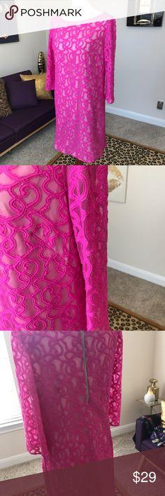Nine West neon pink dress nude slip lined Super pink dress . Knee length , 3/4 length sleeves . Zipper back . Neon pink with nude lining slip. Size 14 regular not plus size Nine West Dresses