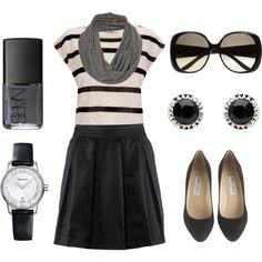 black skirt, black and white striped tshirt, grey vintage snood scarf, big sunglasses, black earrings, black flats, and grey nail polish.