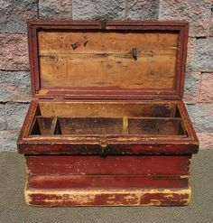 Antique Old Red Paint Primitive Farm Tool Trunk Chest Coffee Table End Stand   eBay
