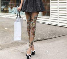 Retro Style Totem Pattern Color Block Narrow Feet Skinny Leggings For Women, COFFEE, ONE SIZE in Leggings | DressLily.com