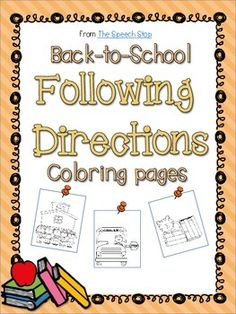 Following 1- and 2- step directions coloring pages, back-to-school theme