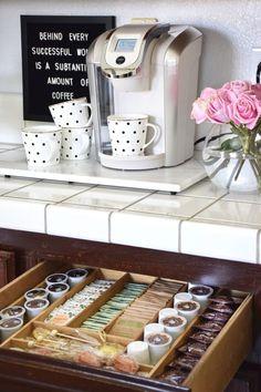 Coffee Bar Station, Tea Station, Home Coffee Stations, Beverage Stations, Keurig Station, Coffee Area, Coffee Nook, Coffe Corner, Home Organization