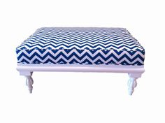 Blue and white chevron ottoman