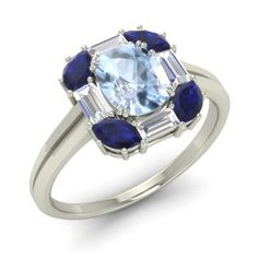 Oval-Cut Aquamarine Halo Ring in 14k White Gold with Sapphire ,VS Diamond