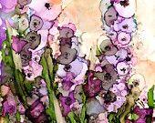 Foxglove Floral - print of original alcohol ink painting