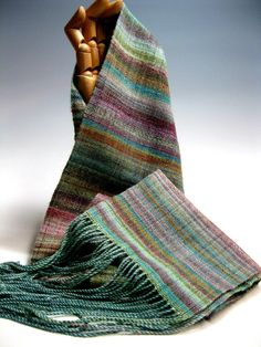 Handwoven Silk and Wool Scarf Day 99 by mmhandwovens weft could be Noro