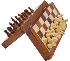 """""""Check-Mate Strategy"""" Classic 10"""" Handmade Rosewood Chess Set - Magnetic Wooden Travel Chess Game with Folding Storage Board - Gifts for All  - Buy in Bulk Wholesale"""