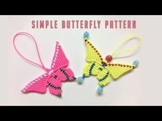 Don't miss this macrame tutorial if you finding a simple and easy pattern - Thắt dây con bướm Collar Macrame, Macrame Colar, Macrame Earrings, Macrame Knots, Micro Macrame, Macrame Jewelry, Simple Butterfly, Butterfly Crafts, Crochet Stone
