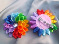 Kanzashi Rainbow hair clip flowers japanese for girls bows