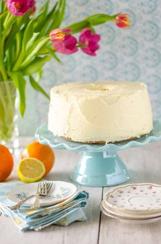 Orange Chiffon Cake has a long and storied history in my family. The recipe actually comes from my grandmother, my father's mother. I always loved it growing up- she would make it whenever we visited (along with her Apple Walnut Cake). You know that trick about putting bread slices at the end of a cake...