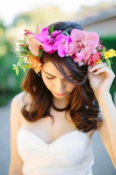 Pink orchid flower crown | Joielala Photography | see more on: http://burnettsboards.com/2014/05/colorful-tropical-wedding-ideas/ #flowercrown