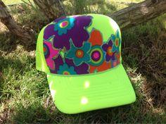 Trucker Hat Neon Yellow w/Applique Flowers & by AumoanaDesigns, $25.00