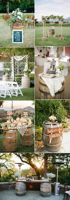 creative wedding ideas with wood barrels