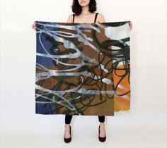 Wearable art, gifts for her, luxury, silk scarf, abstract design, unique, baby rolled edge hem, square silk scarf, made to order, fine art #etsy