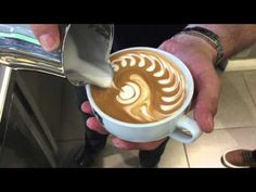 How to make Latte Art: The Basics in Slow Motion by Barista Dritan Alsela Coffee Latte Art, I Love Coffee, Coffee Break, Latte Art Tutorial, Good Morning Coffee Images, How To Make A Latte, Coffee Shop Business, National Coffee Day, How To Order Coffee