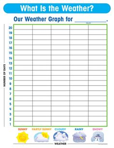 Looking for a Printable Weather Chart For Kindergarten. We have Printable Weather Chart For Kindergarten and the other about Printable Chart it free. Preschool Weather Chart, Weather Graph, Weather Tracking, Weather Activities For Kids, Teaching Weather, Weather Worksheets, Weather Crafts, Graphing Activities, Weather Unit
