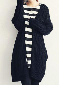 Black Cable Knit Cardigan - Ribbed Detailing At Cuffs/Hem