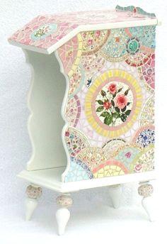 Vintage china mosaic Telephone Table Mosaic Furniture, Table Furniture, Furniture Ideas, Mosaic Tile Art, Mosaic Crafts, Mosaic Projects, Mosaic Ideas, Vintage Telephone Table, Mosaic Pieces