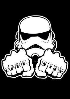 Storm Trooper with 'Dark Side' Finger Tatts, Star Wars Art.