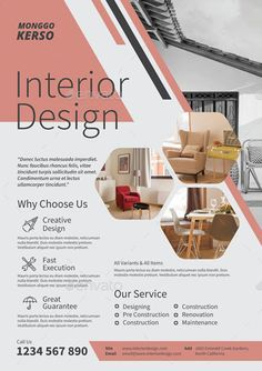 Buy Interior Design by monggokerso on GraphicRiver. Interior Design Flyer File Features : Size + Bleed area CMYK / 300 dpi Easy to edit text Well organized . Graphic Design Flyer, Design Brochure, Cv Design, Design Poster, Layout Design, Flyer Design, Design Ideas, Interior Design Presentation, 3d Interior Design