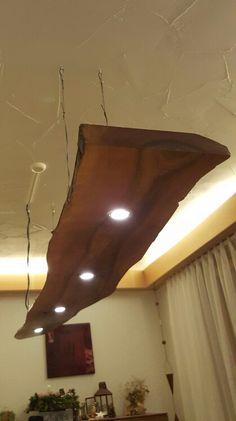 Led lampe h ngeleuchte holz antik balken holzlampe for Led holzlampe