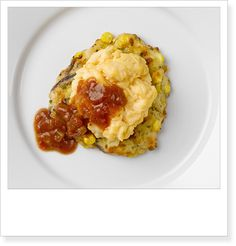 IKEA Australia Canberra breakfast - Sweet corn fritter, free range scrambled egg and tomato chutney.