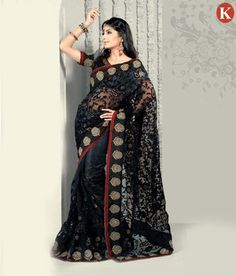 8cee74cfd42065 Black Wedding and Festival Embroidered Net Saree Black Net Saree, Designer  Sarees Online, Indian